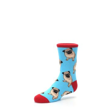 Image of Blue Tan Pug Dog Kid's Dress Socks (side-2-09)