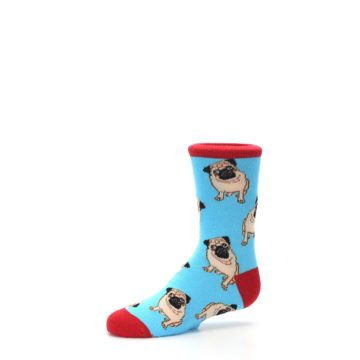 Image of Blue Tan Pug Dog Kid's Dress Socks (side-2-10)