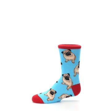Image of Blue Tan Pug Dog Kid's Dress Socks (side-2-11)
