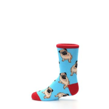 Image of Blue Tan Pug Dog Kid's Dress Socks (side-2-12)