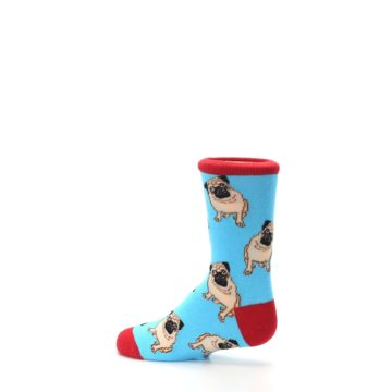Image of Blue Tan Pug Dog Kid's Dress Socks (side-2-13)