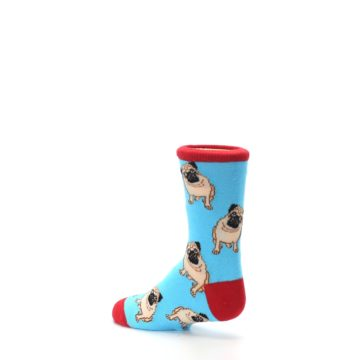 Image of Blue Tan Pug Dog Kid's Dress Socks (side-2-back-14)
