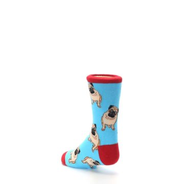 Image of Blue Tan Pug Dog Kid's Dress Socks (side-2-back-15)