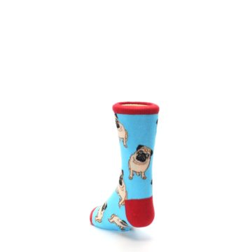 Image of Blue Tan Pug Dog Kid's Dress Socks (side-2-back-16)