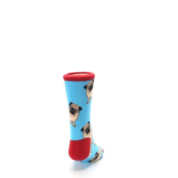 Image of Blue Tan Pug Dog Kid's Dress Socks (back-19)