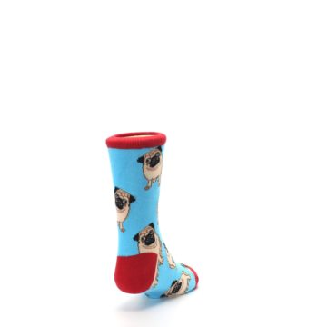Image of Blue Tan Pug Dog Kid's Dress Socks (side-1-back-20)