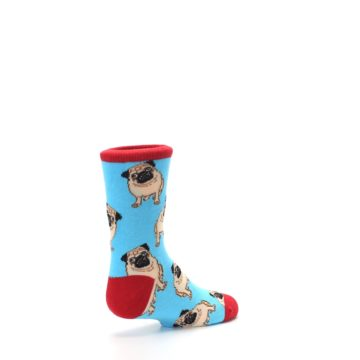 Image of Blue Tan Pug Dog Kid's Dress Socks (side-1-back-22)