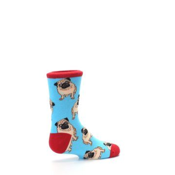 Image of Blue Tan Pug Dog Kid's Dress Socks (side-1-23)