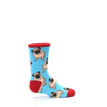 Image of Blue Tan Pug Dog Kid's Dress Socks (side-1-24)
