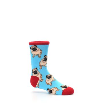 Image of Blue Tan Pug Dog Kid's Dress Socks (side-1-25)
