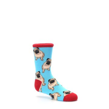 Image of Blue Tan Pug Dog Kid's Dress Socks (side-1-26)