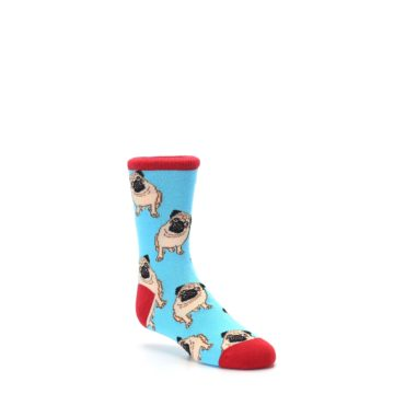 Image of Blue Tan Pug Dog Kid's Dress Socks (side-1-27)