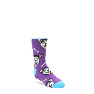 Purple-Happy-Huskie-Dog-Kids-Dress-Socks-Socksmith