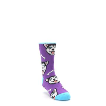 Image of Purple Happy Husky Dog Kid's Dress Socks (side-1-front-02)