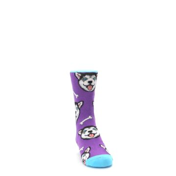 Image of Purple Happy Husky Dog Kid's Dress Socks (side-1-front-03)