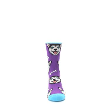 Image of Purple Happy Husky Dog Kid's Dress Socks (front-04)