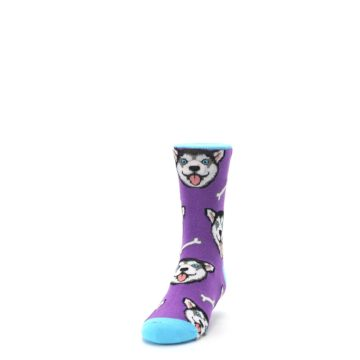 Image of Purple Happy Husky Dog Kid's Dress Socks (side-2-front-06)