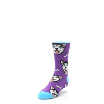 Image of Purple Happy Husky Dog Kid's Dress Socks (side-2-front-07)