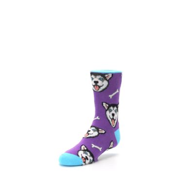 Image of Purple Happy Husky Dog Kid's Dress Socks (side-2-front-08)