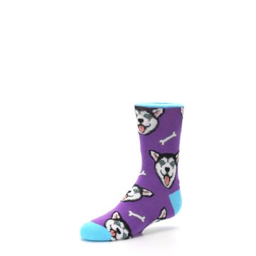 Image of Purple Happy Husky Dog Kid's Dress Socks (side-2-09)