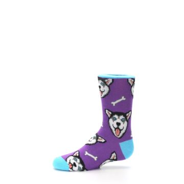 Image of Purple Happy Husky Dog Kid's Dress Socks (side-2-11)