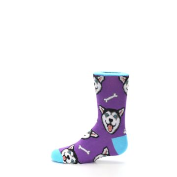 Image of Purple Happy Husky Dog Kid's Dress Socks (side-2-12)