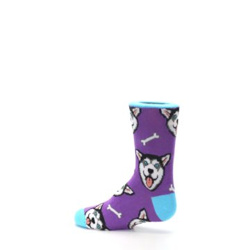 Image of Purple Happy Husky Dog Kid's Dress Socks (side-2-13)