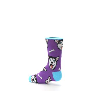 Image of Purple Happy Husky Dog Kid's Dress Socks (side-2-back-14)