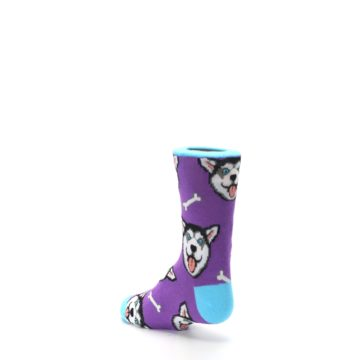 Image of Purple Happy Husky Dog Kid's Dress Socks (side-2-back-15)