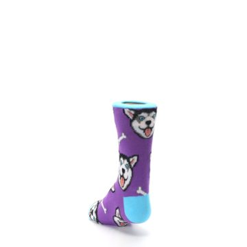 Image of Purple Happy Husky Dog Kid's Dress Socks (side-2-back-16)