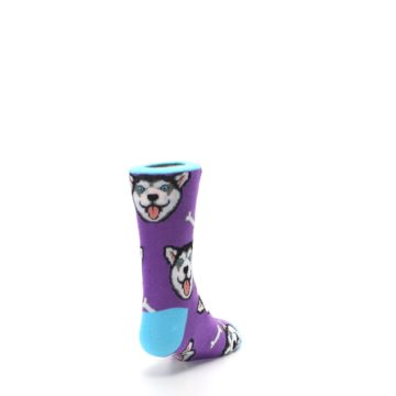 Image of Purple Happy Husky Dog Kid's Dress Socks (side-1-back-20)