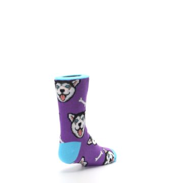 Image of Purple Happy Husky Dog Kid's Dress Socks (side-1-back-21)