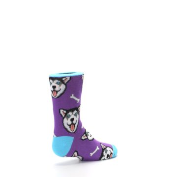 Image of Purple Happy Husky Dog Kid's Dress Socks (side-1-back-22)