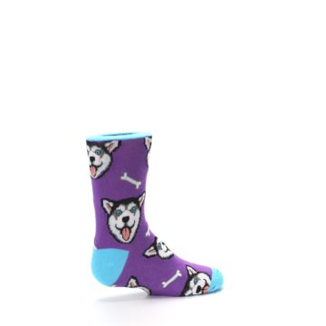 Image of Purple Happy Husky Dog Kid's Dress Socks (side-1-23)