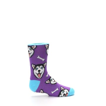 Image of Purple Happy Husky Dog Kid's Dress Socks (side-1-24)