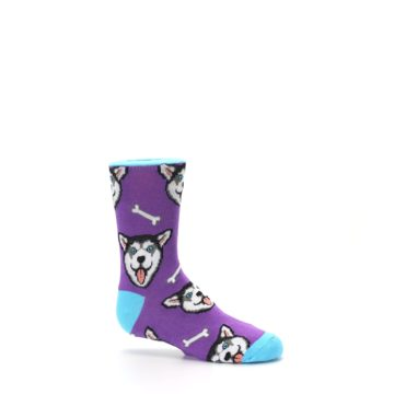 Image of Purple Happy Husky Dog Kid's Dress Socks (side-1-25)