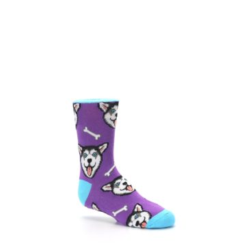 Image of Purple Happy Husky Dog Kid's Dress Socks (side-1-26)