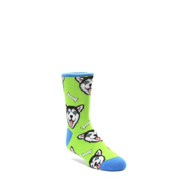 Lime-Green-Happy-Huskie-Dog-Kids-Dress-Socks-Socksmith