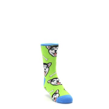 Image of Lime Green Happy Husky Dog Kid's Dress Socks (side-1-front-02)