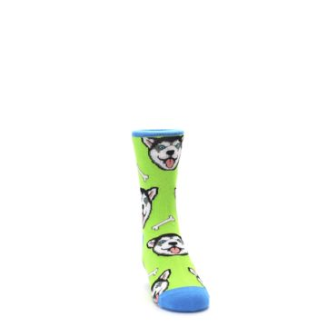 Image of Lime Green Happy Husky Dog Kid's Dress Socks (side-1-front-03)