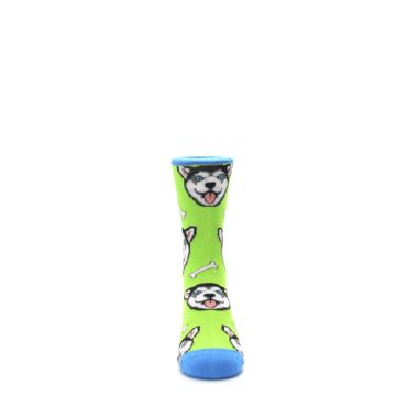 Image of Lime Green Happy Husky Dog Kid's Dress Socks (front-04)