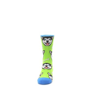 Image of Lime Green Happy Husky Dog Kid's Dress Socks (front-05)