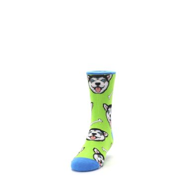 Image of Lime Green Happy Husky Dog Kid's Dress Socks (side-2-front-06)
