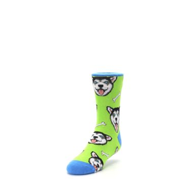 Image of Lime Green Happy Husky Dog Kid's Dress Socks (side-2-front-07)