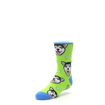 Image of Lime Green Happy Husky Dog Kid's Dress Socks (side-2-front-08)