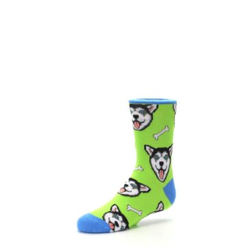 Image of Lime Green Happy Husky Dog Kid's Dress Socks (side-2-09)