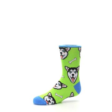 Image of Lime Green Happy Husky Dog Kid's Dress Socks (side-2-10)