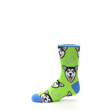 Image of Lime Green Happy Husky Dog Kid's Dress Socks (side-2-11)