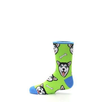 Image of Lime Green Happy Husky Dog Kid's Dress Socks (side-2-12)