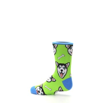 Image of Lime Green Happy Husky Dog Kid's Dress Socks (side-2-13)